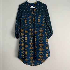 Blue and gold hi low long sleeve dress